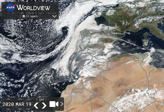 Şekil 1.19 Mart 2020 İber Yarımadası üzerinde toz bulut varlığını gösteren uydu görüntüsü.