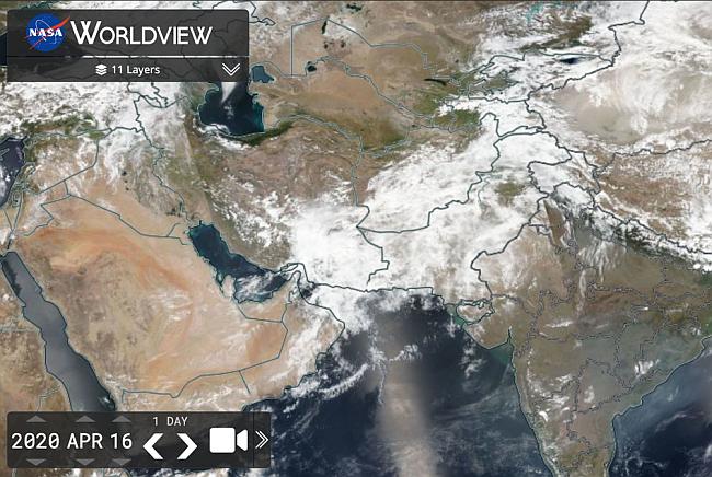 Şekil 4. 6 Nisan 2020 günü Pakistan'da vaka sayısının artışına neden olan toz bulut olayını gösteren uydu görüntüsü.